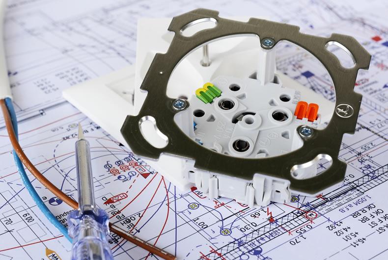 particolare di uno schema di impianto elettrico
