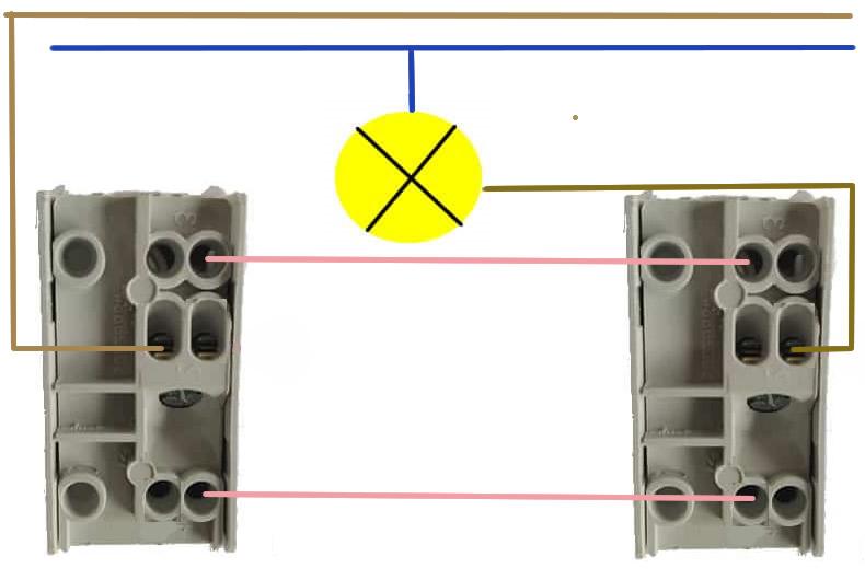 schema collegamento elettrico di un deviatore