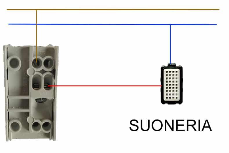 schema collegamento elettrico pulsante a suoneria